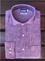 Ficha técnica e caractérísticas do produto Camisa de Linho Manga Longa Vinho (4)