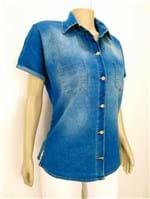 Ficha técnica e caractérísticas do produto Camisa Jeans com Bolso (Azul Jeans Escuro, G)