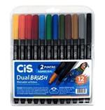 Ficha técnica e caractérísticas do produto Caneta Dual Brush Pen Aquarelável Cis Estojo com 12 Cores