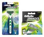 Ficha técnica e caractérísticas do produto Carga Gillette Mach 3 Sensitive - 4 Unidades + Aparelho de Barbear