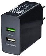 Ficha técnica e caractérísticas do produto Carregador de Parede Concept 2 Portas Usb Quick Charger Preto Multilaser - CB117