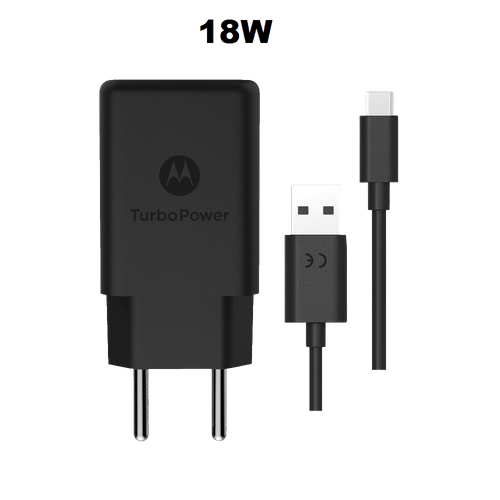 Ficha técnica e caractérísticas do produto Carregador de Parede Motorola Turbo Power 18W, 100-240V, com Cabo USB Tipo-C Preto