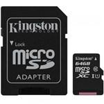 Ficha técnica e caractérísticas do produto Cartão de Memoria Kingston 64GB, Micro SD, C10