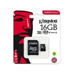 Ficha técnica e caractérísticas do produto Cartão de Memória Micro SD Kingston 16GB