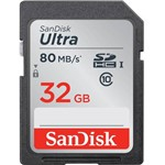 Cartão SDHC 32GB Sandisk Ultra 80 Mb/s Classe 10 UHS-I