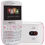 Celular Multilaser Star P3166 Quadri Chip. Desbloqueado. Branco e Rosa. Câmera 1.3MP. Memória Interna 128MB. Dual TV