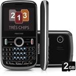 Celular Positivo P100 - GSM. Tri Chip. TV. Teclado Qwerty. Câmera de 1.3MP. Bluetooth. MP3 Player. Rádio FM. Cartão de 2GB - Preto