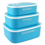 Ficha técnica e caractérísticas do produto Conjunto de Potes para Alimentos Fitness - Azul
