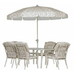 Conjunto Mesa e Cadeira com Guarda-Sol Jardim Varanda Piscina Bali - Mor