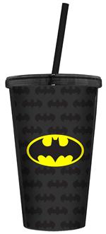 Ficha técnica e caractérísticas do produto Copo com Tampa e Canudo - Batman