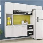 Cozinha Suspensa 9 Portas 2 Gavetas Angra Siena Móveis Branco/Preto