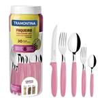 Faqueiro Tramontina Ipanema em Inox Rosa com Pote Plástico 30 Peças