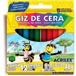 Ficha técnica e caractérísticas do produto Giz Cera Acrilex 12 Cores 48 G