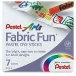 Giz Pastel Seco para Tecido Fabric Fun Estojo C/ 07 Cores Pentel