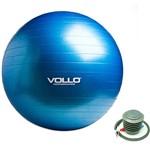 Gym Ball Vollo Tamanho 75cm Azul com Resistência de 350kg e Bomba