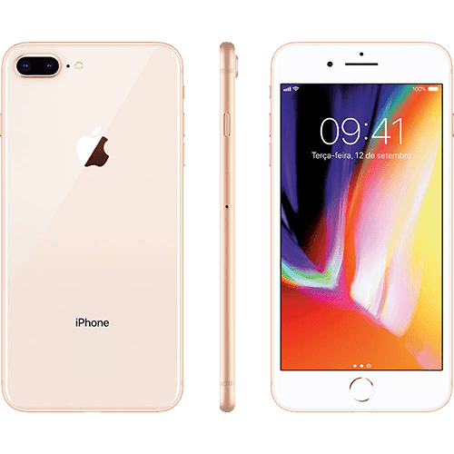 "IPhone 8 Plus Dourado 64GB Tela 5.5"" IOS 11 4G Wi-Fi Câmera 12MP - Apple"
