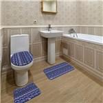 Ficha técnica e caractérísticas do produto Jogo de Banheiro Abstrato Azul Marinho - Mdecore