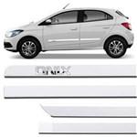 Jogo de Friso Lateral Chevrolet Onix 2012 a 2018 Branco Puro Grafia Cromada Alto Relevo