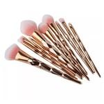 Kit 10 Pincéis de Maquiagem Diamante Gold Rose