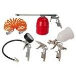 Ficha técnica e caractérísticas do produto Kit Air Kit 5 Peças com 3 Pistolas+Calibrador com Manometro+Mangueira em Espiral - Schulz