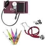 Kit Aula 5: Medidor de Pressão Esfigmomanômetro Braçadeira Velcro + Estetoscópio Rappaport Premium + Termômetro Digital