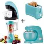 Ficha técnica e caractérísticas do produto Kit Cafeteira+batedeira+liquidificador+torra Cadence Azul 127v