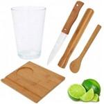 Kit Caipirinha 5 Pecas com Copo 500 Ml + Pilao Tabua Colher e Faca em Bambu Mor