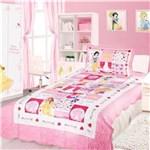 Ficha técnica e caractérísticas do produto Kit Cobreleito Colcha Solteiro Infantil Camesa Patchwork Disney Princesas Rosa e Branco