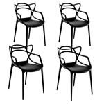 Ficha técnica e caractérísticas do produto Kit com 4 Cadeiras Allegra Preta