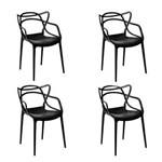 Ficha técnica e caractérísticas do produto Kit com 4 Cadeiras Allegra - PRETO