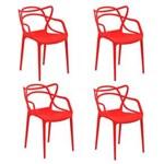 Ficha técnica e caractérísticas do produto Kit com 4 Cadeiras Allegra - VERMELHO