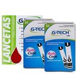 Kit com 2 Caixas de Tiras Reagentes LITE 100 Und Mais 100 Lancetas G-Tech