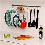 Ficha técnica e caractérísticas do produto Kit de Cozinha: 1 Barra+3 Ganchos+ 1 Escorredor Dobrável+1 Kit Fixação Cromo Ecológico e Vermelho - Metaltru