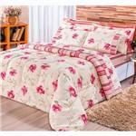 Kit Edredom Requinte 3 Peças 180 Fios Rosas Pink Casal
