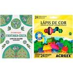Ficha técnica e caractérísticas do produto Kit - Livro Fantasia Celta: Livro de Colorir Antiestresse + Lápis de Cor Acrilex Hexagonal 24 Cores