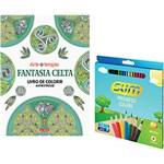 Ficha técnica e caractérísticas do produto Kit - Livro Fantasia Celta: Livro de Colorir Antiestresse + Lápis de Cor Slim Redondo 24 Cores