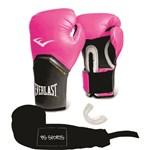 Ficha técnica e caractérísticas do produto Kit Luva Everlast Pro Style Elite Rosa 14oz Bandagem/bucal
