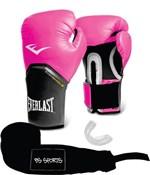 Ficha técnica e caractérísticas do produto Kit Luva Everlast Pro Style Elite Rosa 12oz Bandagem/Bucal