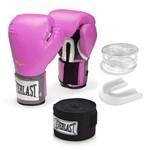 Kit Luva Everlast Training Rosa 10oz Bandagem/ Bucal