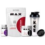 KIT MAX Titanium MASS 3kg + CREATINA 150g + BCAA 2400 100 Caps + Coqueteleira