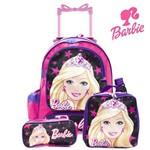 Kit Mochila Infantil Escolar com Rodinhas Barbie - Rosa