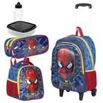 Kit Mochila Infantil Spider Man 18X 3D Lancheira Estojo Homem Aranha Grande Sestini