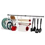 Ficha técnica e caractérísticas do produto Kit para Cozinha Metaltru - 10 Peças - Cromo/Vermelho