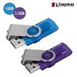Kit 2 Pen Drive Kingston 4GB e 32GB USB 2.0 - DataTraveler 101 G2