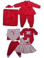Kit Saída de Maternidade Menina Macacão Renda + Saída 5 Peças Vestido Cor Vermelho - Whoshop