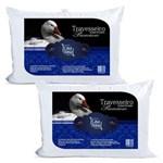 Ficha técnica e caractérísticas do produto Kit 2 Travesseiros Pluma de Ganso Premium 50x70cm Casa Dona 200 Fios Branco - Verde