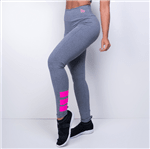 Ficha técnica e caractérísticas do produto Legging Fitness HB Cinza com Neon Rosa LG1130