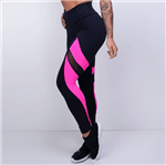 Legging Fitness Honey Preta com Rosa LG1138