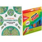 Ficha técnica e caractérísticas do produto Livro para Colorir Adulto Fantasia Celta + Lápis de Cor Tris Color Fun 24 Cores