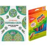 Ficha técnica e caractérísticas do produto Livro para Colorir Adulto Fantasia Celta + Lápis de Cor Tris Color Fun 36 Cores